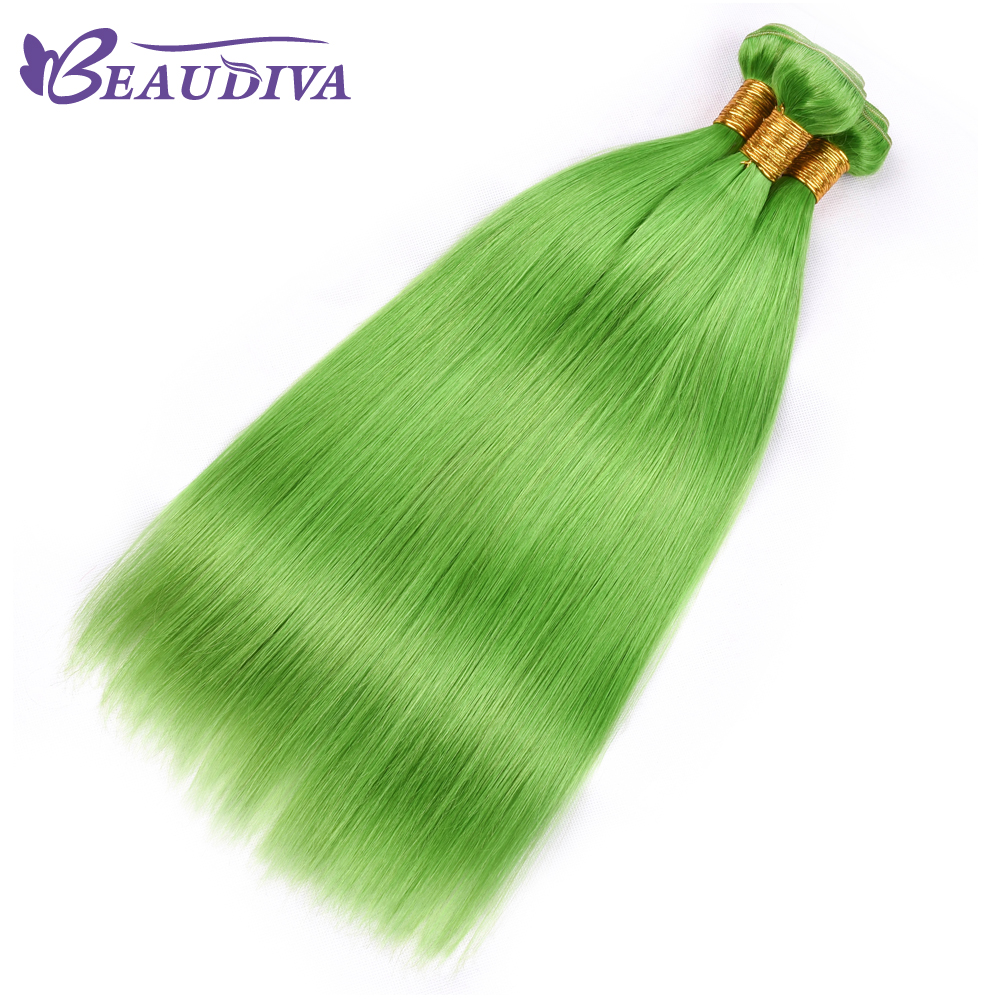 BEAU DIVA Hair 100% Human Hair Bundles Brazilian Straight Hair Weave 4 Piece 8-26 Inches Yellow Green Remy Hair Extensions
