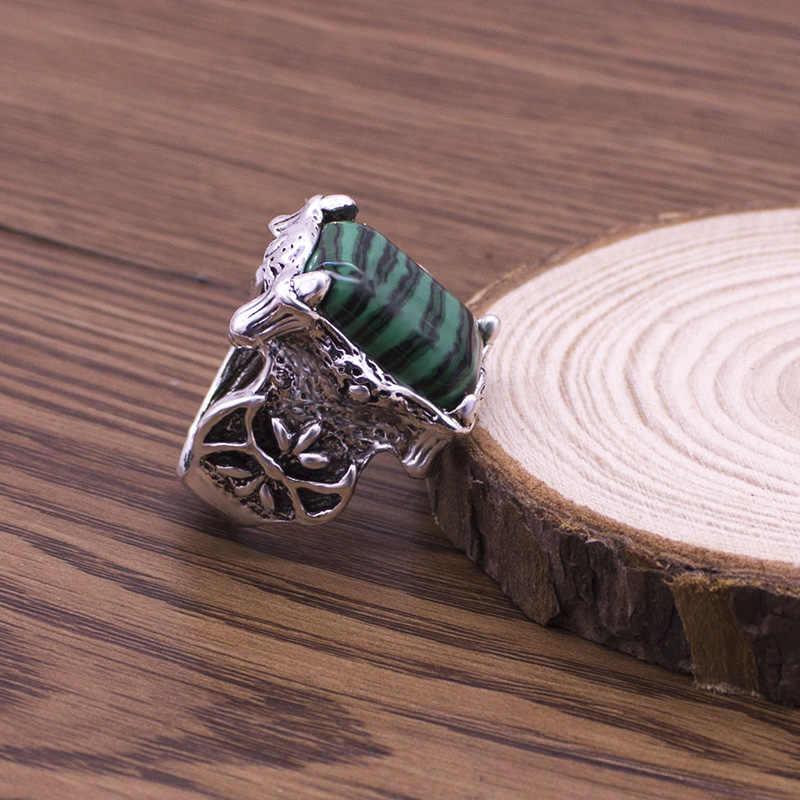 Vintage Square สีเขียวหินธรรมชาติแหวนผู้หญิง Big Boho แหวนโรงงานราคาถูก