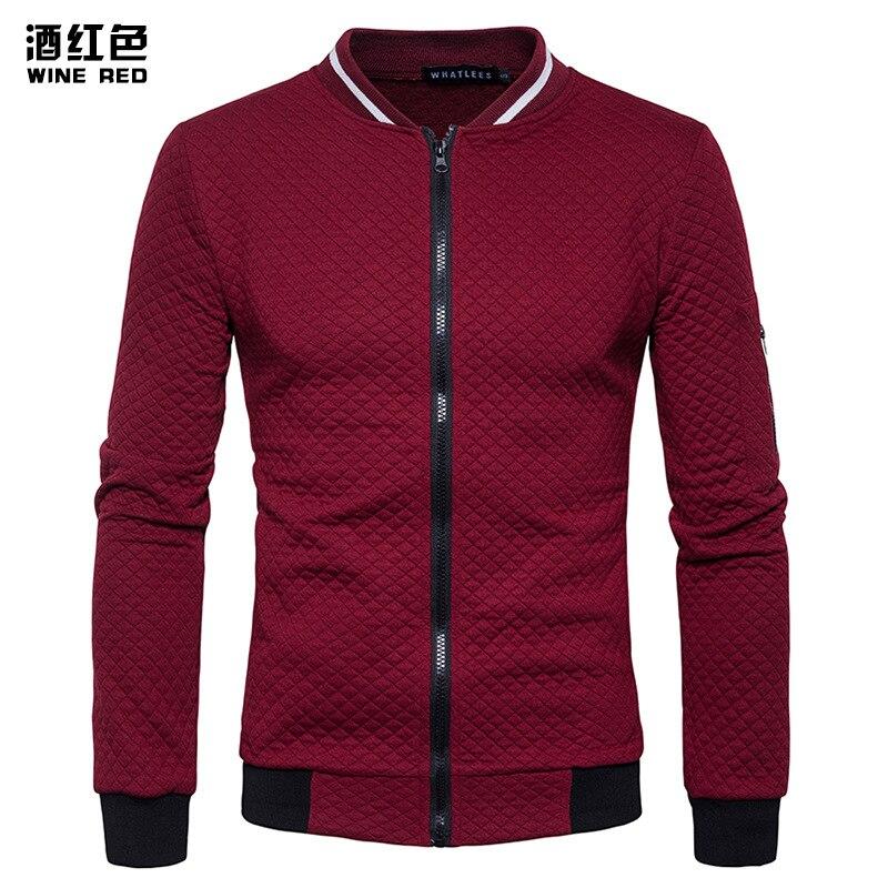 Wine Red Bomber Jacket Men 2017 Brand New Lightweight Zip Up Baseball Jacket Fashion Diamond Plaid Argyle Varsity Jacket Men/Boy
