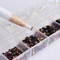 1 Caja Negro Blanco Jalea Mixta Nail Rhinestones Del Clavo 3D Decoraciones de arte Con Manicura Puntea la Pluma Del Clavo de DIY Decoración Arte conjunto