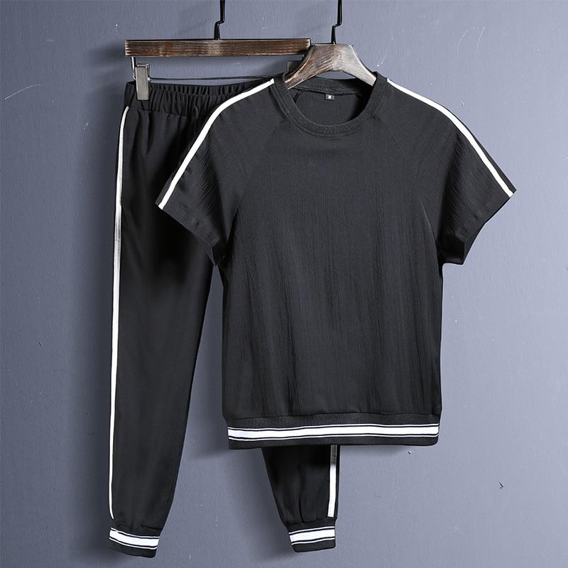 2020 Summer New Men's Suit Short Sleeve T-shirt Long Trousers Men's Casual Sportswear Men's Casual Suit