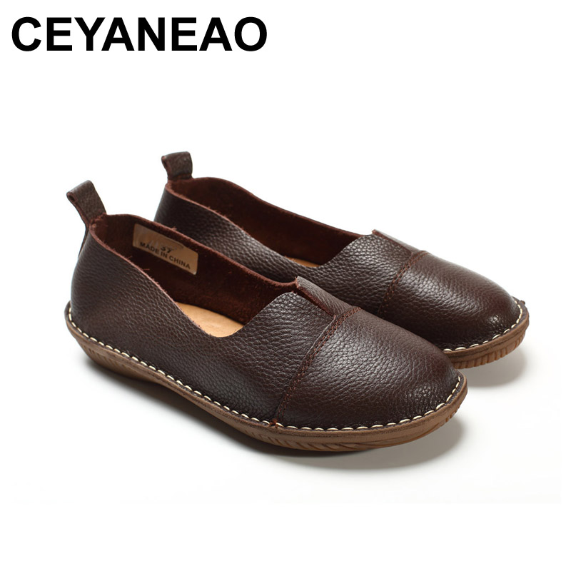 CEYANEAO  Women's Shoes Genuine Leather Slip on Loafers Round toe Coffee White Women's Shoes Flats Spring Autumn Footwear