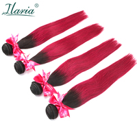 ILARIA HAIR 4Pcs Pre Colored Brazilian Human Hair Bundles Ombre 1B 99J Black Red Wine Color Straight Ombre Burgundy Hair Weave