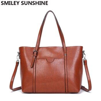 SMILEY SUNSHINE brand new big women shoulder bags oil wax leather women handbag large capacity female tote hand bags sac a main grande bolsas femininas de couro