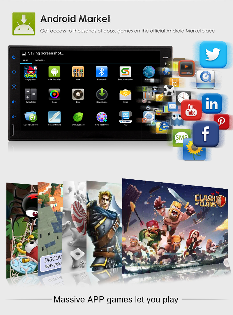 Universal 2DIN Android 7 1 1GB RAM Car in Dash DVD Player Stereo GPS Rear Camera