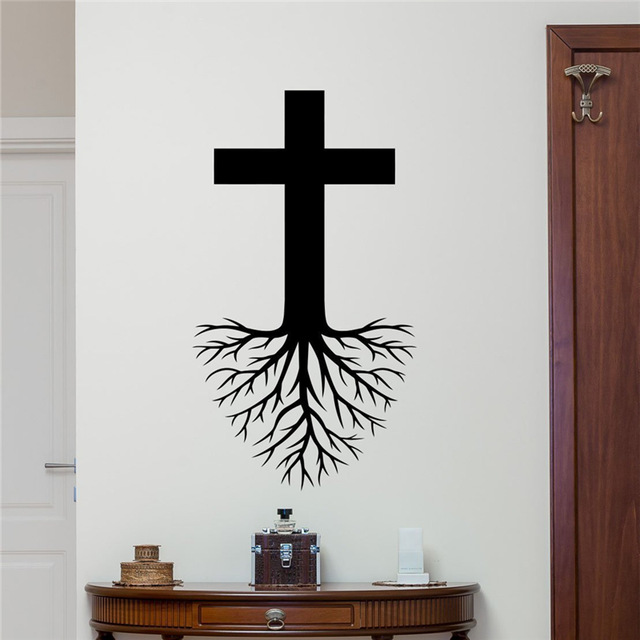 Cross Roots Wall Decal Christian God Jesus Christ Religion Vinyl Sticker Church Decor Kids Bedroom