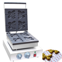 Jamielin Electric Butterfly Shape Waffle Maker Snack Machines Commercial Butterfly Shape Lolly Waffle Maker Kitchen Machine