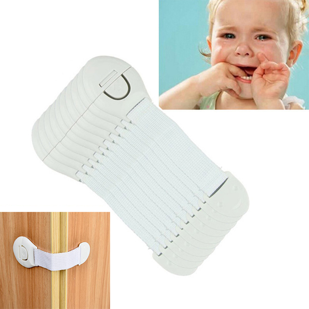 10 Pcs/Lot Plastic Child Lock Drawer Door Cabinet Cupboard Toilet Safety Locks Children Protection Locks Straps For Baby Safety