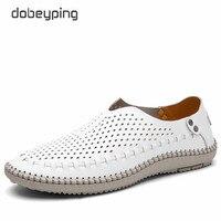 Vender 2017 zapatos casuales de Hombre Zapatos de barco de cuero Real zapatos de conducción hombre ahueca hacia fuera hombres planos transpirables mocasines 38-46