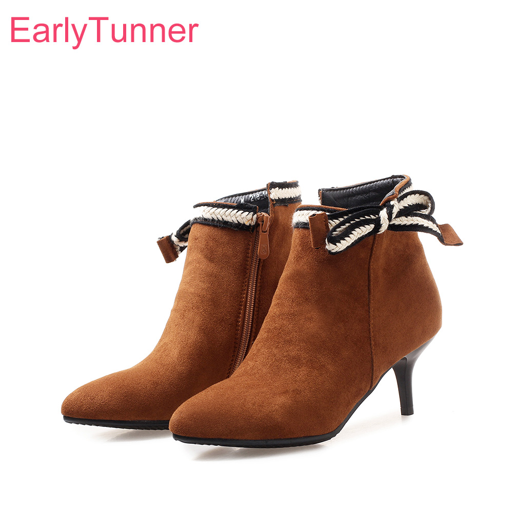 Brand New Hot Winter Sexy Apricot Yellow Women Ankle Boots Lady Nude Shoes Stiletto Heels EK816 Plus Big Small Size 10 32 43 47 brand new sexy women motorcycle boots black red beige white lady ankle riding shoes fashion nude heels ay902 plus big size 43 48