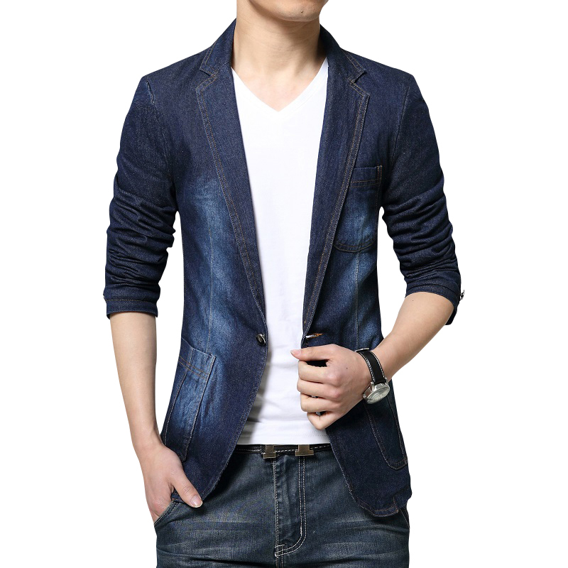 New Fashion 2017 Men Blazer Blue Black Jeans Suits Jacket Casual