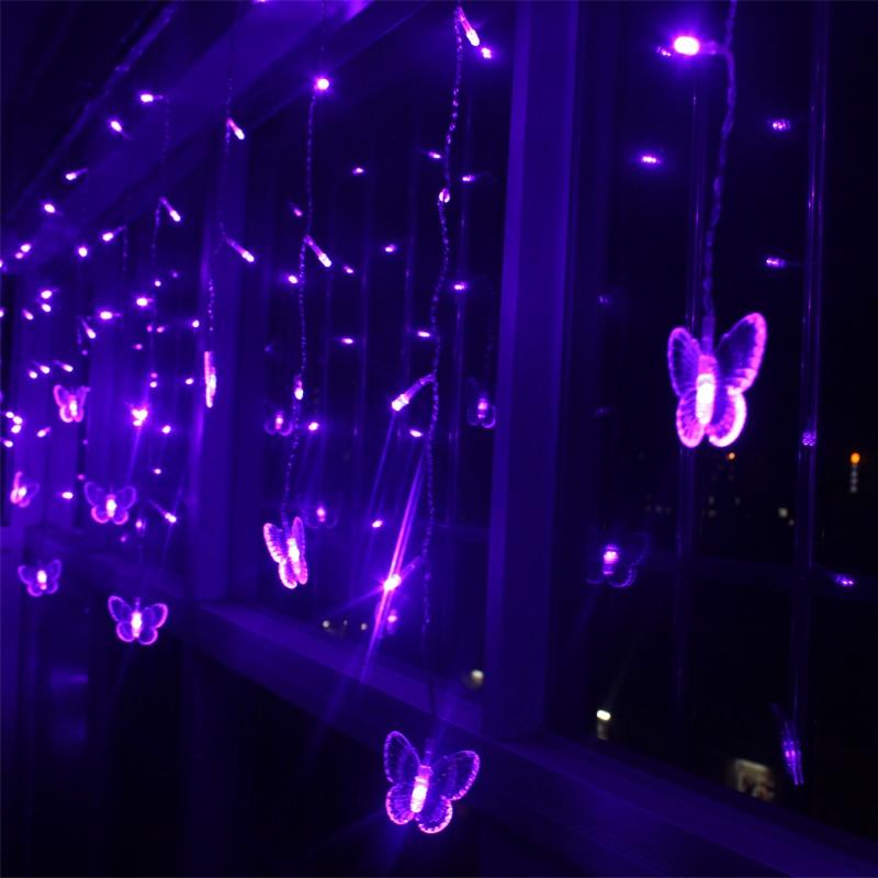 Violet LED guirlandes 4 m 100 LEDs 18 p papillon de soirée de mariage de vacances de noël décoration intérieure extérieure feux de rideaux