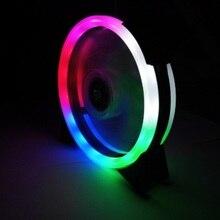 Горячий светящийся охлаждающий вентилятор с двойной диафрагмой разноцветный светодиодный компьютерный корпус ПК охлаждающий вентилятор RGB Регулировка тихий + ИК пульт дистанционного охлаждения вентиляторы