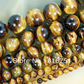 "Hot Sale Natural Stone Yellow Tiger Eye Beads 15.5"" Pick Size: 4 6 8 10 12 14mm  Free Shipping -F00068"