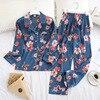 2020 New Two Piece Women Pajamas Sets Silk Satin Pyjamas Autumn Print Long Sleeve Sleepwear Set Plus Size Home Clothes Pijamas