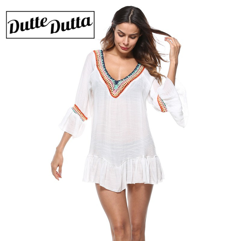 Women White Swim Cover Up Sexy Beach Coverup Bikini Covers Summer Beach Wear Mesh Bathing Suit Falbala Dress For Female