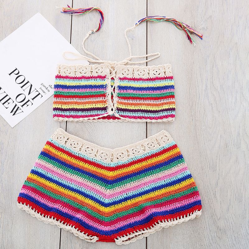 Womens Sexy Bohemian Rainbow Handmade Crochet Knitted Bikini Set Drawstring Lace Up Bandeau Tube Top Shorts Beach Swimsuit