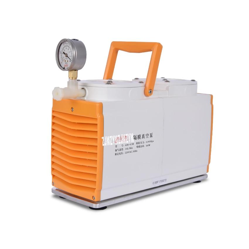 New Anti-corrosion Type GM-0.5B Vacuum Pump Oil-free Diaphragm Vacuum Pump Laboratory Pump Dual Head 160W 220V AC, 50Hz 30 L/min small vacuum pump 617cd32 small ac oil free vacuum pump