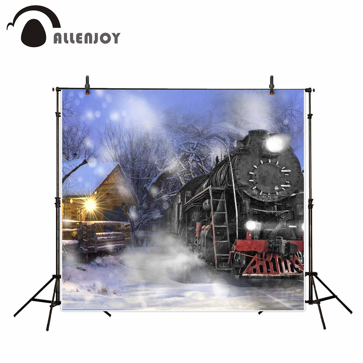Allenjoy photography backdrops Christmas background house train Background for photo studio kids funds backdrop vinyl black and white grids floor photography background hollow vinyl photo backdrops for photo studio funds props cm 4785