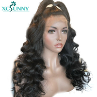 xcsunny Full Lace Human Hair Wigs With Baby Hair Pre Plucked Brazilian Remy Hair Wavy Glueless Full Lace Wig Bleached Knots