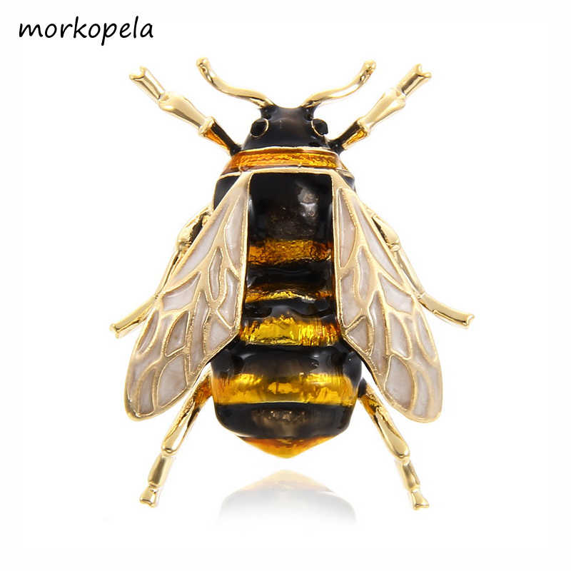 Morkopela Bee Emaille Pin Fashion Broches Voor Vrouwen Insect Pins En Broches Sieraden Sjaal Clip Accessoires