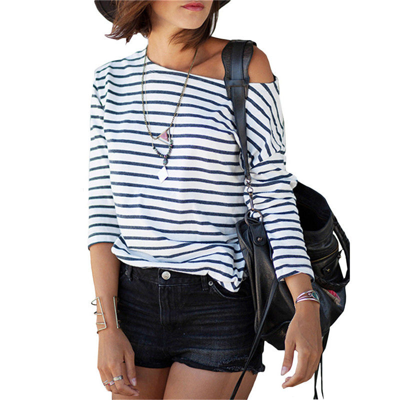 2017 spring new arrivals fashion blue and white round neck for Blue and white striped long sleeve t shirt