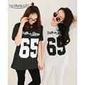 YEMUSEED CC0011 Estilo Nuevas Mujeres de La Moda de Verano 65 Impreso Suelta Uniforme de Béisbol Camiseta de La Raya De las mujeres Del Envío Gratis