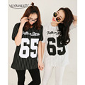 YEMUSEED CC0011 Summer Style New Fashion Women Baseball T Shirt Stripe 65 Printed Loose Uniform For women Free Shipping