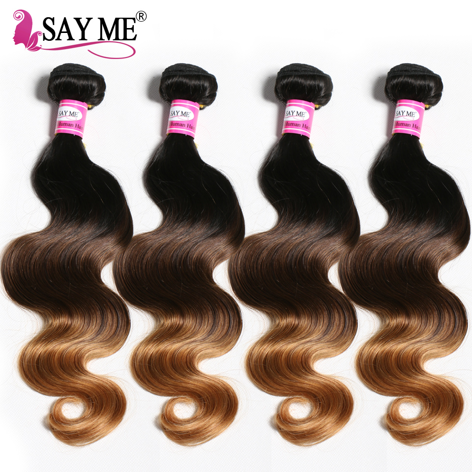 4 Bundles Brazilian Body Wave 3 Tone Colored Human Hair Weave Bundles Blonde Ombre Hair Extension 1B/4/27 Non-Remy Medium Ratio