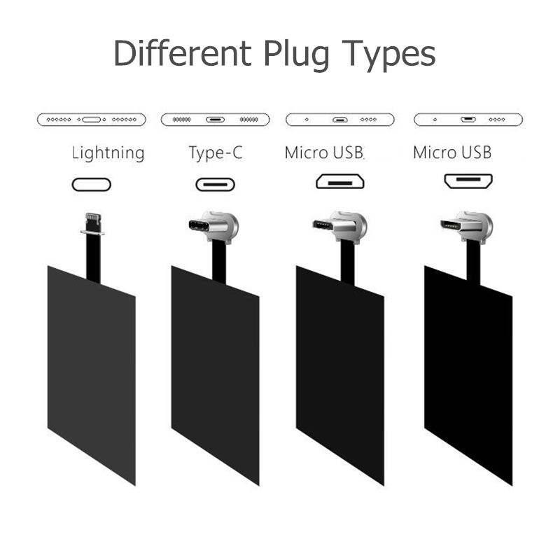 Black Bank Card Size Qi Standard Wireless Cellphone Charger Receiver Card For iPhone 5 6 7 Plus Micro and Type C Mobile Phones