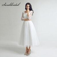 Little White Black Lace Appliques Homecoming Dresses Simple Tulle Tea Length Graduation Party Gowns Cheap Short Prom Dress SD036