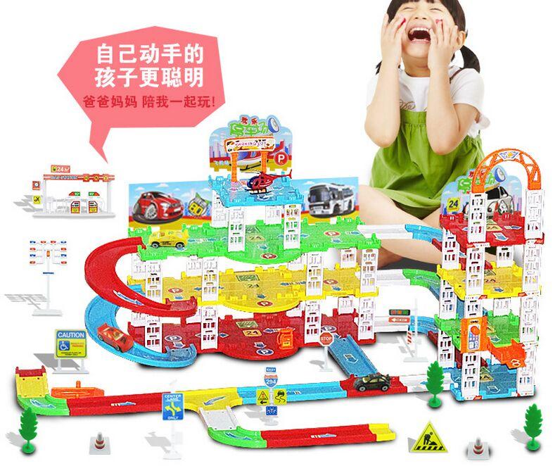 Grands enfants de puzzle assemblé BRICOLAGE assemblée simulation de la trois niveau parking lot modèle de rail de voiture jouets Enfants jouets