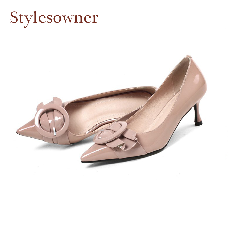 Stylesowner patent leather shallow dress shoes women pump pointed toe buckle decoration elegant lady party shoes stilettos heels nine west women s ibby leather dress pump