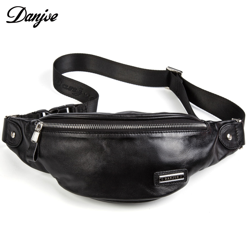 Fashion Genuine Leather Waist Packs For Men Cow Leather Belt Bag Shoulder Bags Classic Style Casual Black Bag New DANJUE Brand femalee 2018 latest style women s shoulder bags 100% genuine sheepskin leather rivet crossbody bag fashion casual waist packs