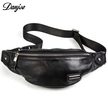 Fashion Genuine Leather Waist Packs For Men Cow Leather Belt Bag Shoulder Bags Classic Style Casual Black Bag New DANJUE Brand - DISCOUNT ITEM  51% OFF All Category