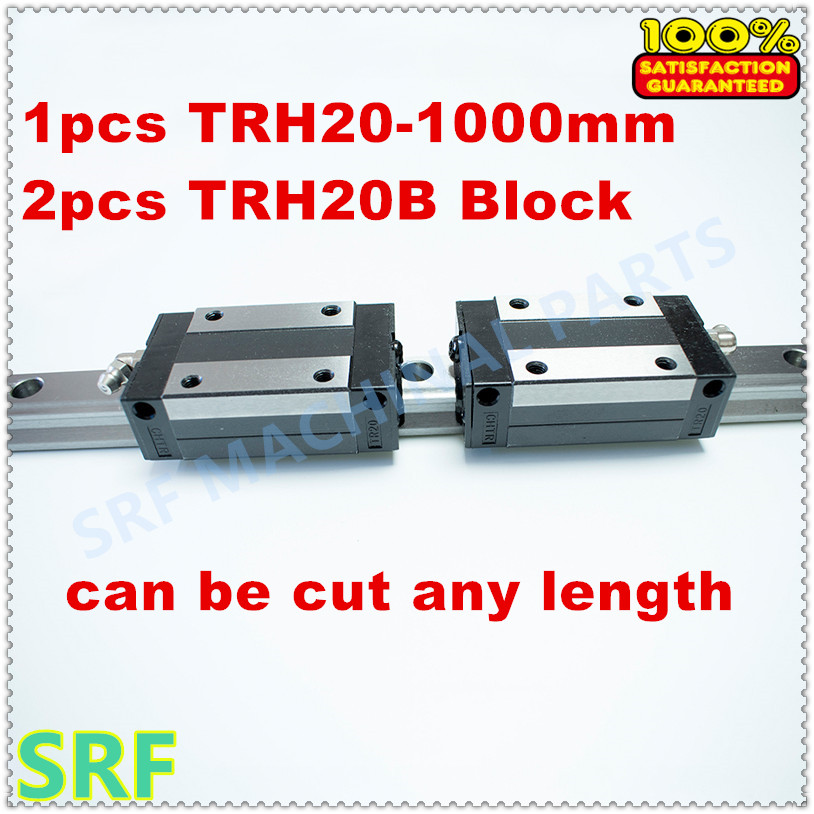High Precision 1pcs Linear guide 20mm TRH20  L=1000mm Linear Rail+2pcs TRH20B Slider block bearing linear guide rail for cnc tbi 2pcs trh20 1000mm linear guide rail 4pcs trh20fe linear block for cnc