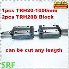 Haute Précision 1 pcs Linéaire guide 20mm TRH20 L = 1000mm Linéaire Rail + 2 pcs TRH20B Curseur roulement de bloc linéaire rail de guidage pour cnc