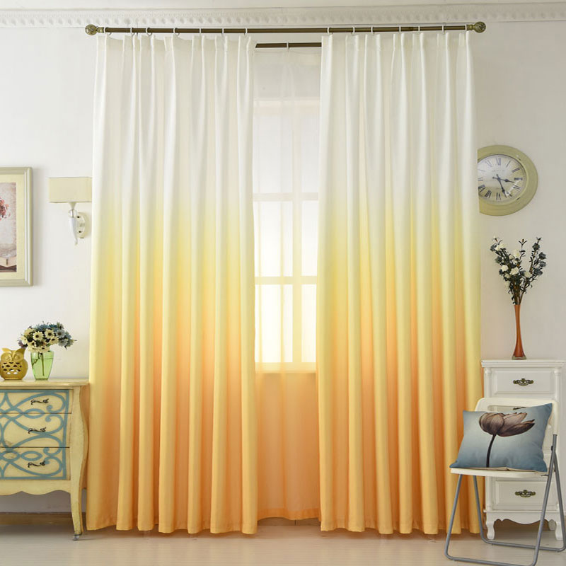 Colorful Living Room Curtains: Gradient Yellow Curtains Modern Solid Tulle Curtains For