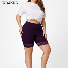 INDJXND Womens Lace Hot Shorts Elastic Sports Plus Size High Waist Trousers Trunks Solid Color Casual Elastic Waist Women Shorts