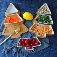 8.5 Inches Chinese Style Irregular Pure Ceramics Bamboo Wood Christmas Tree Dessert Snacks Fruit Plates Breakfast Salads Plates