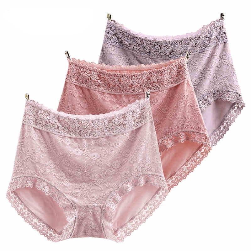RUIN JS2 3PCS Women's Panties High Waist Hip Sexy Lace Underwears XL 4XL-in women's panties from Underwear & Sleepwears