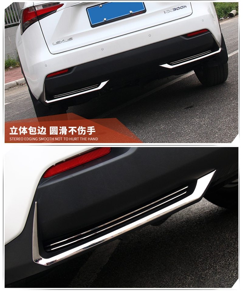 MONTFORD ABS Chrome Rear Fog Light Lamp Eyelid Cover Trims Protector 2Pcs For Lexus NX NX200 NX200T NX300H 2015 2016 2017 Auto 3pcs abs chrome rear fog light cover