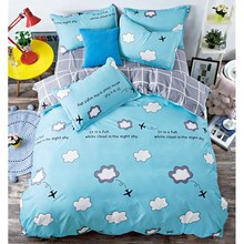 Blue cartoon airplane printing bedding set king size gray with white plaid bed cover sheet kids christmas