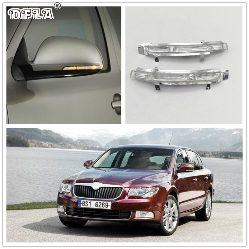 For Skoda Superb MK2 2008 2009 2010 2011 2012 2013 2014 2015 Car-Stying Rear Mirror LED Turn Signal Indicator Light Lamp