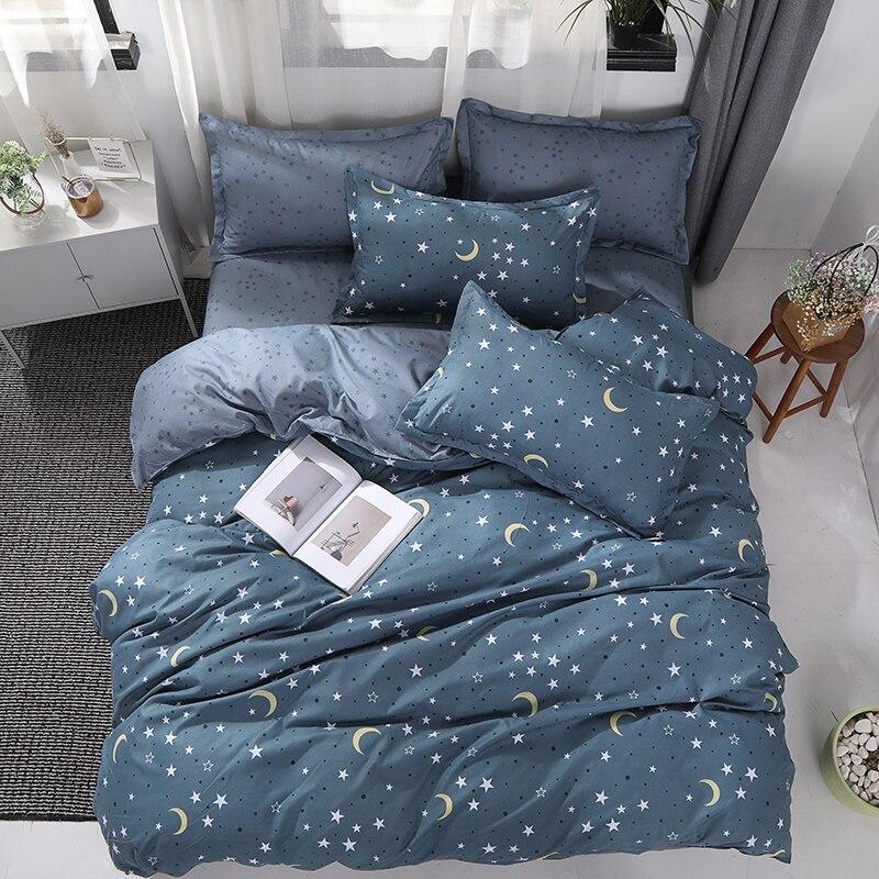 BEST.WENSD Stars Moon Bedding Set Comforter Linen Soft Bedding Bag 3/4pcs Duvet Cover Sets Quilt Cover Bed Flat Sheet Pillowcase
