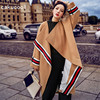 Cakucool Women Long Wool Blends Loose Batwing Poncho Open Stitch Striped Sashes Khaki Cape Oversize Women