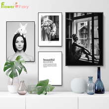 Beautiful Girl Wall Art Canvas Painting Nordic Poster Pictures For Living Room Modern Posters And Prints Rabbit  Unframed