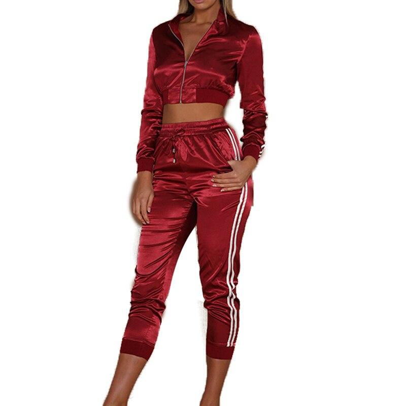 2018 Donne Imposta Lato Della Banda Maniche Lunghe Zipper Corp Top Vitello-lunghezza Tailleur Pantalone Femminile Di Moda Sportiva Femminile Di Usura 2 Pezzo Set Per Prevenire E Curare Le Malattie