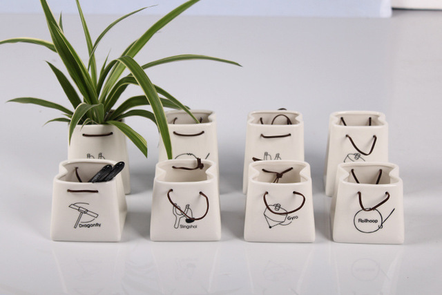 2 styles Ceramic Flowerpot Storage box paper bag Succulent plants pots Decoration Home decor Wholesale pen container