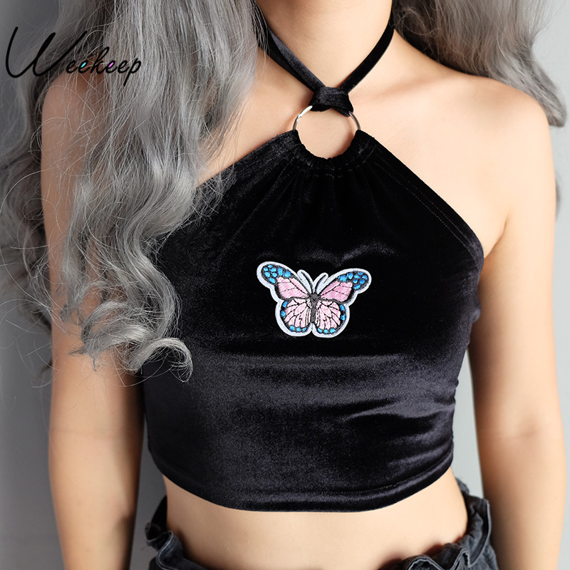 Weekeep Women Sexy Halter Cropped Camisole Butterfly Applique Black Sleeveless Crop Top Feminino Bralette Fashion Summer Camis